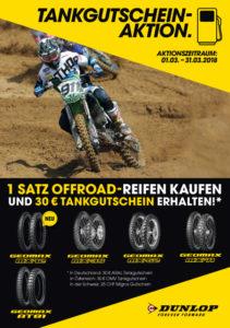 1 Satz Dunlop MX Reifen kaufen und 30€ Tankgutschein erhalten!
